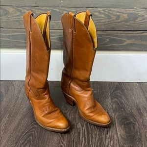 Justin Tan Leather Solid Cowboy Cowgirl Boots